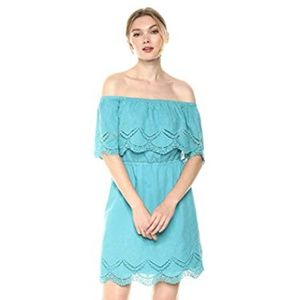 kensie Crochet Embroidered Off The Shoulder Dress